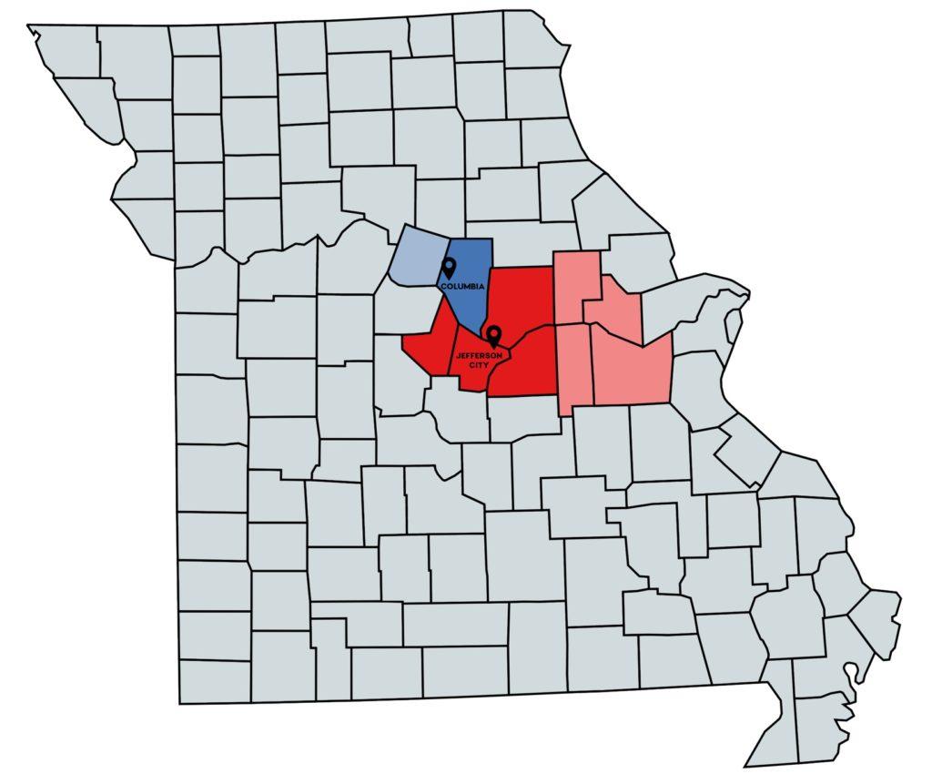 Missouri map of territories